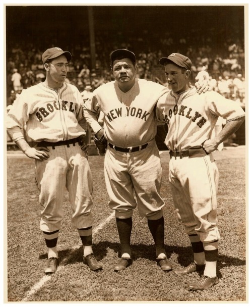 New York All-Stars - Polo Grounds - July 10, 1934(L-R) Van Mungo, Babe Ruth & Al Lopez