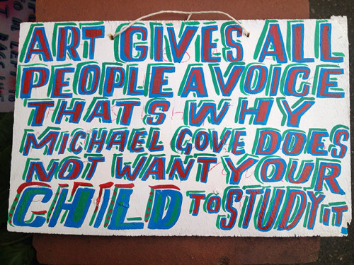 Bob & Roberta Smith will be flogging this art slogan at the Vauxhall Art Car Boot Fair at Under the Hood at the London's Truman Brewery on 27 May. Other works on sale will be by Peter Blake and Tracey Emin. We have a gallery of some the highlight for you to rummage through, here.