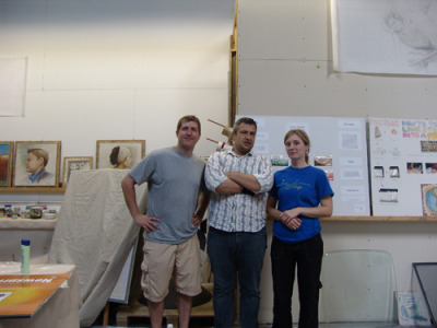 Mike and Leslie Nickols with iLia Anossov (fresco) during their workshop at the Fresco School. please view Mike's fresco project at Western Kentuky University here: http://frescoproject.blogspot.com/