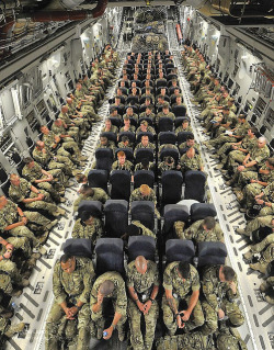 UK Troops Onboard a C17 Transport Aircraft in Transit to Afghanistan by Defence Images on Flickr.