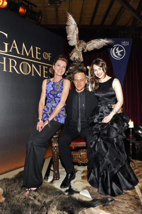 Michelle Fairley (Catelyn), Tom Wlaschiha (Jaqen) and Emilia Clarke (Daenerys) at a Game of Thrones event.