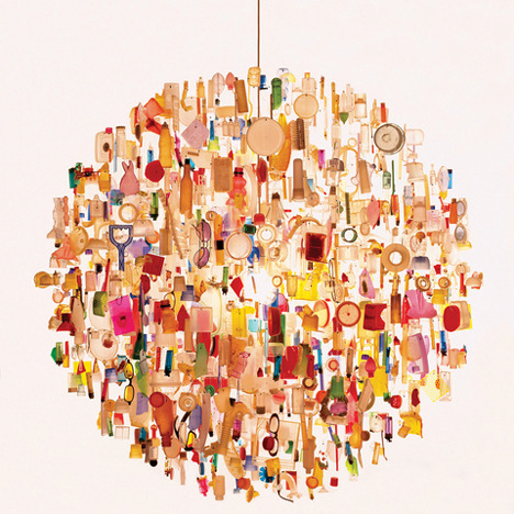 "Chandeliers by Stuart Haygarth Incredible collection of salvaged items to create these amazing hanging chandeliers. Brings back memories of a Christmas Tree my mother entered into an annual competition made entirely from surplus re-cycled materials.  Check out his website for more of this amazing work. ""Starting in 2004 I have been working on design projects which revolve around the collections of objects. The objects are normally collected in large quantities categorized and assembled in a way that transforms their meaning. My work is about giving banal and overlooked objects a new significance. The finished piece of work takes various forms such as chandeliers, installations, functional and sculptural objects."" Link"