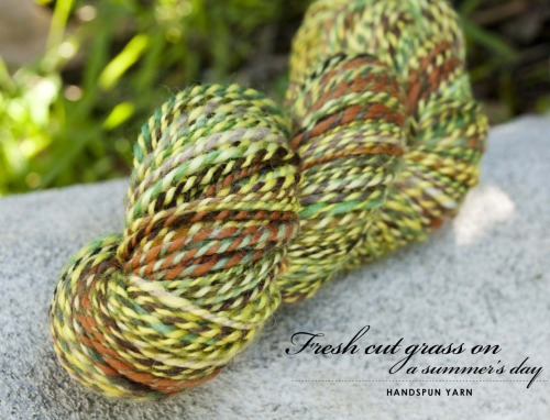 {handspun} — Fresh Cut Grass on a Summer's Day. This is my first skein of yarn that I've spun on my newly acquired spinning wheel! A lendrum single treadle wheel basically fell into my lap and I am so thankful; it is truly something I'm going to love experimenting with. Fiber is my new addiction! So many to try and all the hand dyed fiber is so delicious looking, I can't resist! :) Yellow – Sincere Sheep, 100% BFL Wool Green – High Bid Farm, 100% BFL Wool 2ply… about 13 WPI — 225 Yards