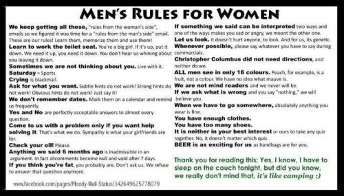 Guys and their rules…