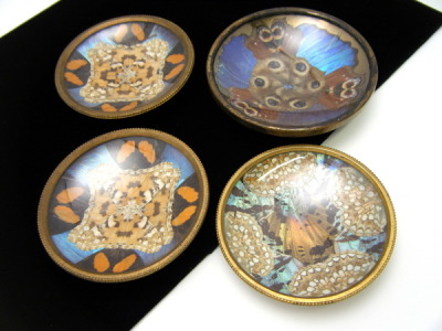 French Art Deco Era Butterfly Wing Salt Dishes with butterfly wings. Sold for $129.99.