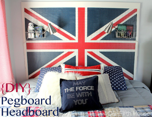 truebluemeandyou:  DIY Painted Pegboard Headboard Tutorial. This headboard solves so many problems: storage, lighting, etc… Home Depot and hardware stores now have so many cool and interesting products to hang on pegboard racks. Tutorial from Our Fifth House here.  so much win.