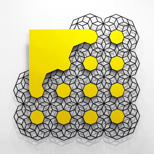 Cloud (Yellow) by Aakash Nihalani  painted stainless steel 72 x 72 x .25 inches via