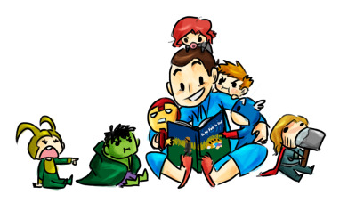 reelydumbdoodles:  It's Coulson's turn to babysit Earth's mightiest heroes. XD It looks like he's fairing better than Fury, though. :O