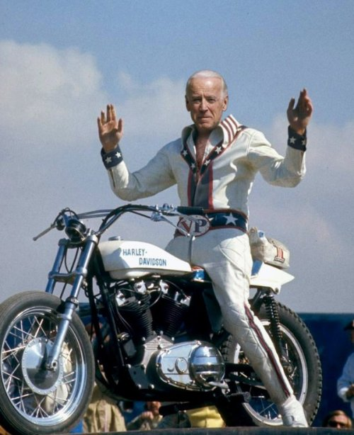 "theonion:  Biden To Honor Fallen Soldiers By Jumping Motorcycle Over Vietnam Memorial  ""There's no better way to pay homage to our fallen brothers than by letting it rip, hitting that ramp at full fucking blast, and flying through the sky high above the Vietnam Memorial,"" said Biden, noting that he also plans to execute a midair salute by placing his fingers around his mouth in a V shape and rapidly flicking his tongue.  More."