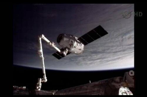 At 9:56 AM Eastern Standard Time on Friday, May 25th, SpaceX's Dragon  became the first commercial spacecraft to dock with the International Space Station. Fucking awesome.