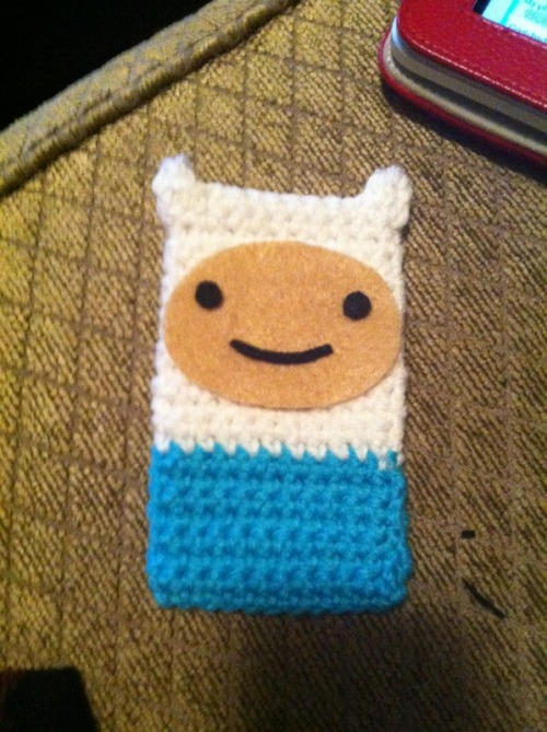 crochetitaintso:  OMG Finn iPhone cozy. Gonna take pictures and list it later today.