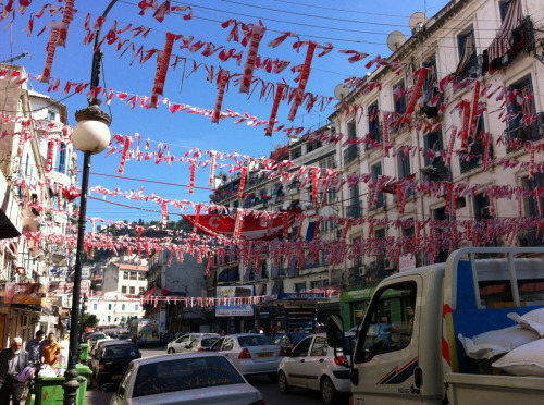 The team colours in Belouizdad neighbourhood, Algiers