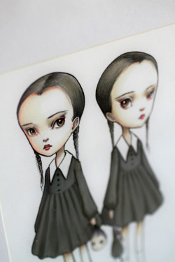 Tuesday and Wednesday Addams - original illustration by Mab Graves