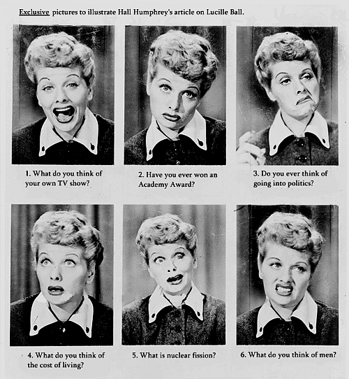 theniftyfifties:  The many faces of Lucille Ball.