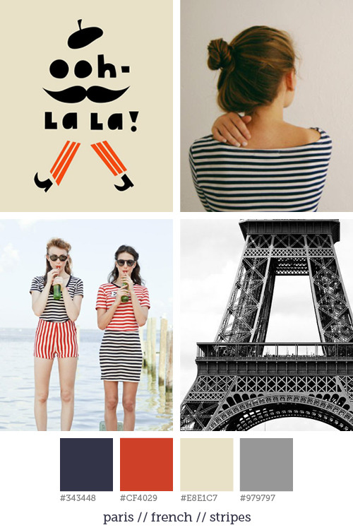 Style report #13 A bun in your hair and a blue or red striped shirt, et voilà: Paris style. I love the simplicity of the typical French fashion, it's funny and cheerful.   Pictures: Darling Clementine |  This is glamorous | Edith A. Miller | Pinterest