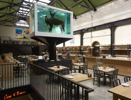 Mark Hix opens his latest restaurant at the Tramshed in Shoreditch with the choice of either steak or chicken and an impressive Damien Hirst installation: http://www.bonvivant.co.uk/blog/2012/05/25/the-tramshed-by-mark-hix/