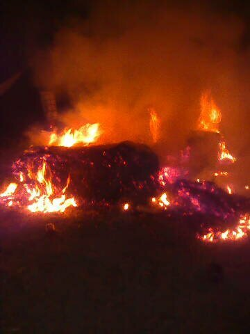 Haybale fire at my party