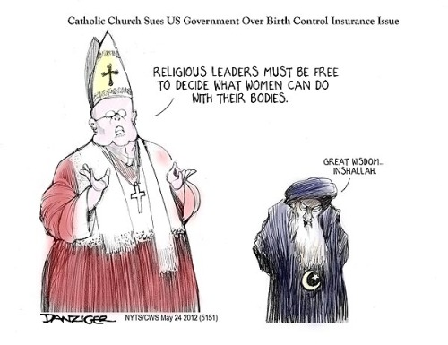 azspot:  Jeff Danziger: Religious Freedom  Wait wait wait — the Catholic Church is being hypocritical?? How uncharacteristic of them.