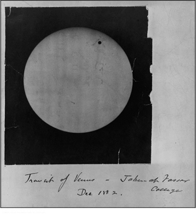Photograph of the 1882 transit of Venus taken at Vassar College by woman astronomer Maria Mitchell and her students.  They observed and photographed the 1882 transit of Venus from the observatory on the grounds of Vassar College in Poughkeepsie, New York.  They used a small version of the photoheliostat. (Picture courtesy of Vassar College Library)