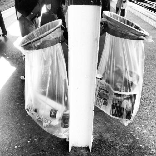 The tale of two bins #london #finchleyroad #blackwhite  (Taken with instagram)
