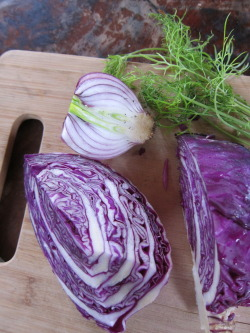 Red cabbage, red onion, fennel, saute.