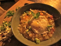 Butternut squash risotto w/ poacher.