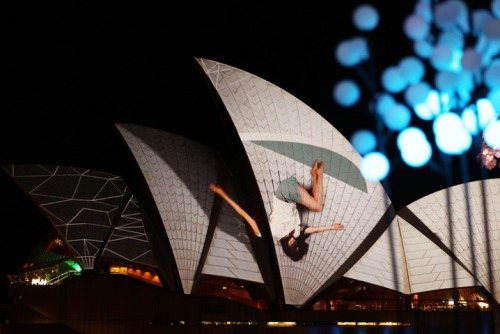 The sails of the Sydney Opera House are illuminated as part of the Vivid Sydney festival of lights on Friday. (Photo by Mark Metcalfe/Getty Images)