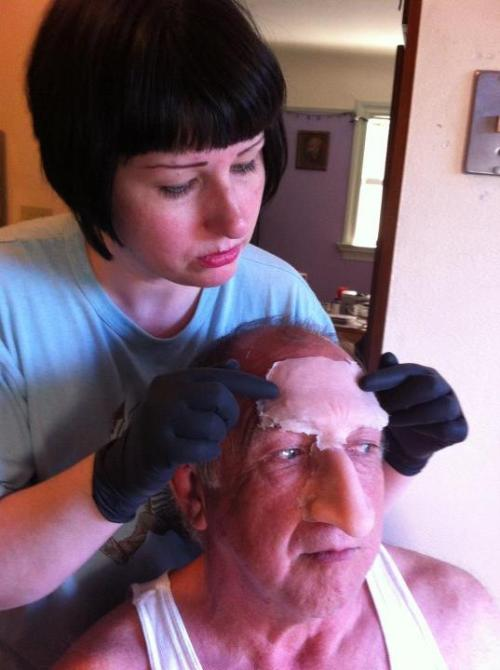 Applying gelatin prosthetics for a test makeup. http://www.melaniepaulina.com