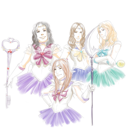 afterlaughs:   Glee x Sailor Moon - Troubletones as Outer Senshi  Sugar as Sailor Saturn Mercedes as Sailor Pluto Santana as Sailor Uranus Brittany as Sailor Neptune Maybe better coloured… one day…