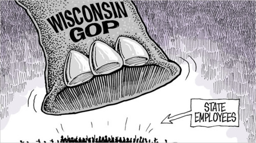 "Maddow: Union-busting about making Wisconsin permanently Republican— ""Killing the unions is the strategy for turning Wisconsin red, not just for now, but for generations to come in an irreparable way,"" she said. ""This is about partisan politics. It is about destroying Democrats' chances of competing with Republicans."" Maddow noted that while Republican candidates are disproportionately funded by corporate and pro-business groups, Democratic candidates are disproportionately funded by public service unions — the very unions that Wisconsin Gov. Scott Walker targeted in his budget repair bill. ""It's not about some year's budget, it is not even about jobs,"" Maddow continued. ""Since he wiped away union rights in Wisconsin, Scott Walker has racked up the single worst jobs records in the entire country."" – Raw Story"