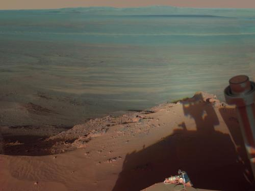 AMAZING self-portrait of Mars Rover Opportunity. (via NASA - Late Afternoon Shadows at Endeavour Crater on Mars)