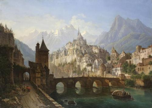 "Andreas Roller (German, 1805-1891). Landscape with a Bridge and Fortress, 1843 ""Source"""