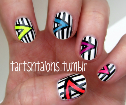 05.25.12 Tribal Nails My entry for Day 16 of Nail Challenge- Tribal. Okay, I'll be honest. I'm not a big fan of tribal nails. I like how they look on other people's nails but they're not my thing. So this is what I came up with. Tribal nails or 80s pop art? Let me know if you want to know what polish I used.
