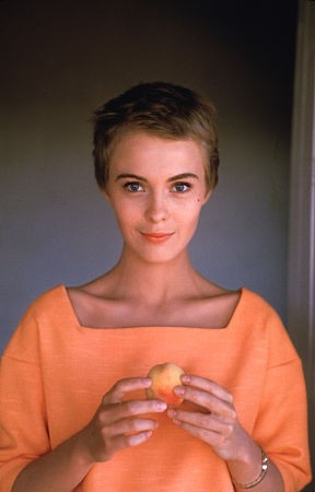 katespadeny:  jean seberg in peach  happy in peach