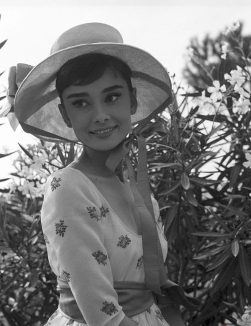 Audrey Hepburn on the set of War and Peace, 1955.