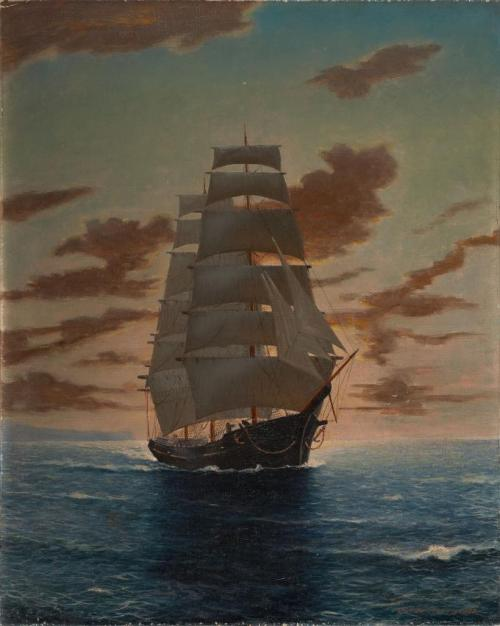 "ANTON OTTO FISCHER (American, 1882-1962). Clipper Ship at Dawn   ""Source"""