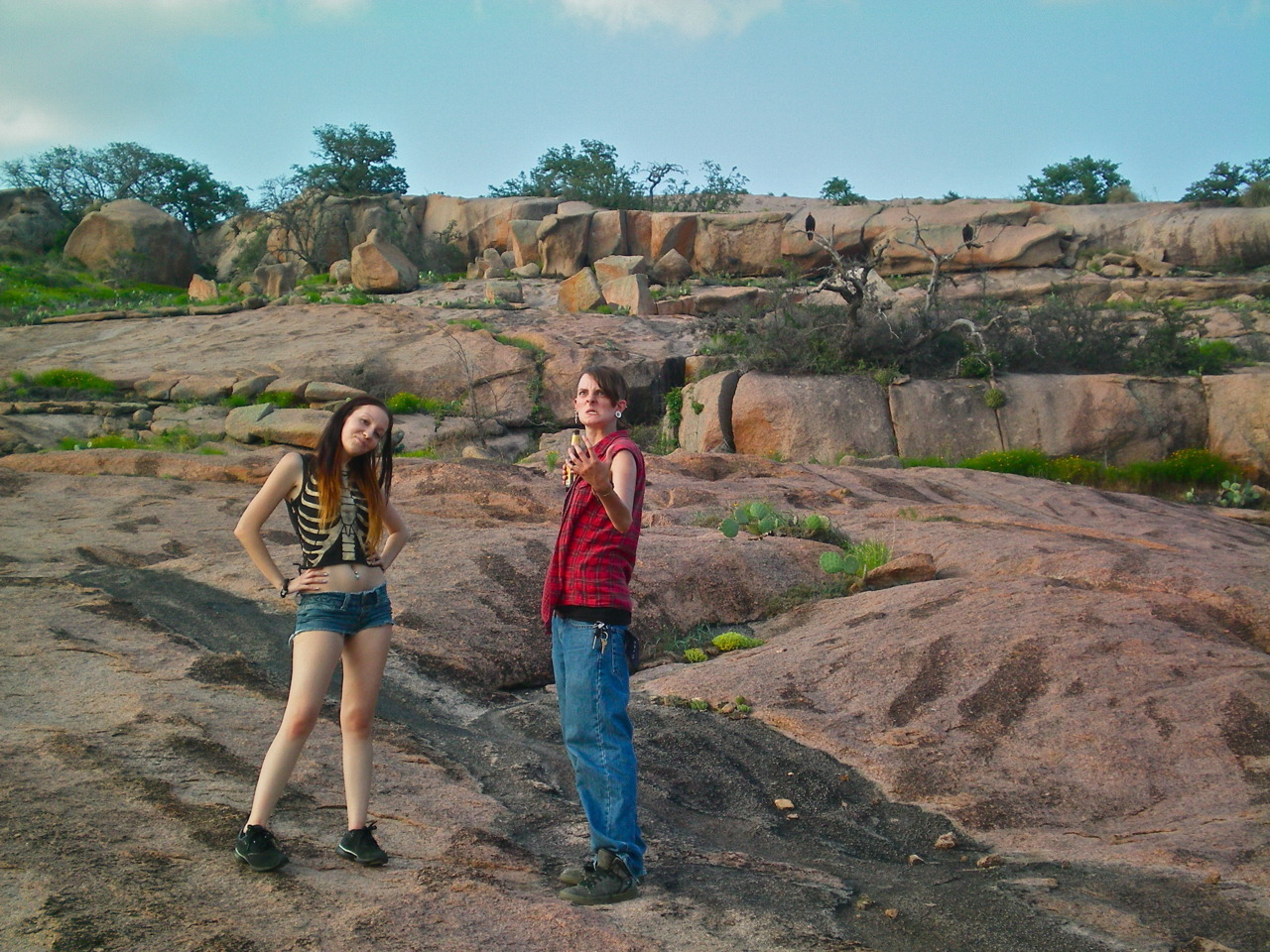 best friend and i hangin' out with vultures on enchanted rock.. nbd.
