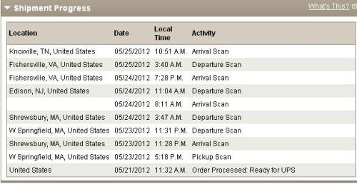 I knew UPS was good but … 3 minutes for an hour trip? And why is the package going east then south? This is the stuff I think about people. Welcome to my world.