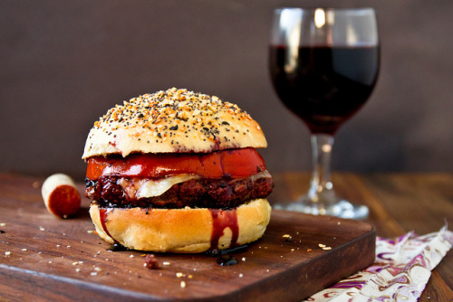 red wine burger with homemade everything buns.