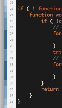 "Coda 2 - The sidebar is color-coded to show how ""deep"" the code is indented on each line. /via Juan-Pablo Scaletti"