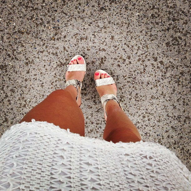 Dayum shuddy💃 #tan #legs #girl #white #crochet #dress #snakeskin #heels #wedges #neon #nailpolish  (Taken with instagram)