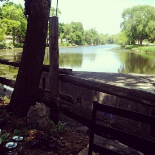 Eating on the riverside patio for my mama's birthday (Taken with instagram)