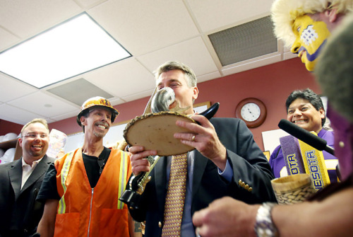 Minneapolis Mayor R.T. Rybak drinks a beer offered from a Vikings fan after the Minneapolis City Council gave final approval today to a financing package that will build the Minnesota Vikings a new, taxpayer-subsidized, $1 billion stadium on the site of the Metrodome Read more from reporter Tim Nelson.