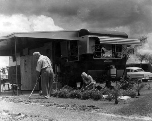 Unidentified couple tends to their yard at Trailer Estates: Sarasota, Florida by State Library and Archives of Florida on Flickr.Look at the photo. Consider what has has just happened here, or what is about to happen here. Who has been here? Who will come here and and what will they do? What kinds of interactions can you imagine? Write one leaf about these or other things that occur to you upon looking at the picture. Do not allow yourself to be limited by what you see. Go.| Write One Leaf + about + ask + random + facebook + twitter | sponsors + You Are a Dog [ Kindle | Google | iBookstore ]