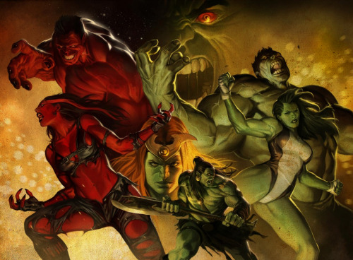 HULK, RED HULK, SHE HULK, RES SHE HULK, AND SKAAR