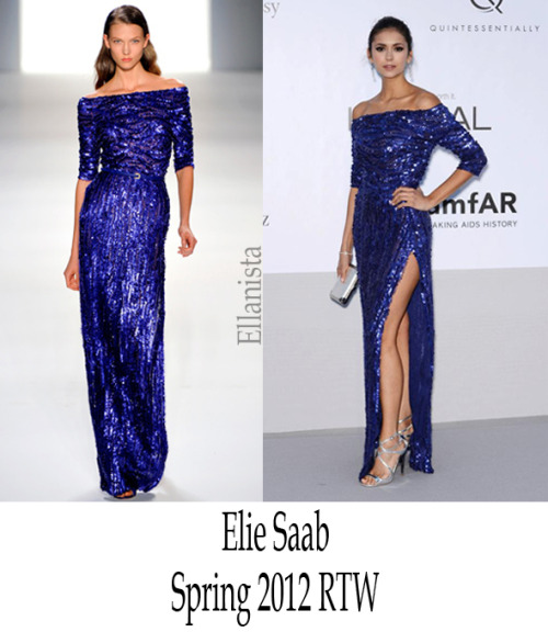 Red Carpet Fashion Vampire Diaries Nina Dobrev sparkled in an Elie Saab dress, Jimmy Choo 'Lance' sandals, & Bvlgari jewels at amfAR's Cinema Against AIDS gala.