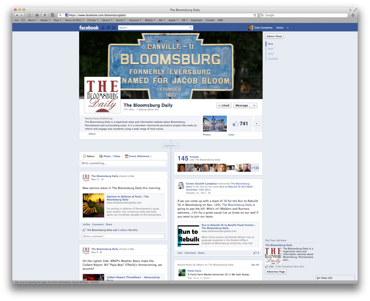 A true labor of love, The Bloomsburg Daily continues to move forward. We now are getting submissions for Op/Eds from people in and around Bloomsburg, stories from Bloomsburg University students, and updates from various local organizations.  I continue to feel good about our infrastructure and those providing it.  Our social media integration continues to thrive as well.  We are planning updates of the events calendar, classifieds, and mobile tools. In addition we are in the midsts of several new ventures around TBD that will hopefully continue to make it something people who care about Bloomsburg can remain proud of. I know that those of us working on it behind the scenes certainly are proud to be able to do it.