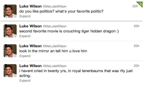 internetpoetry:  luke wilson twitter feed, screenshot by no danceing ;)    Follow LUKE!! CLICK THIS <333