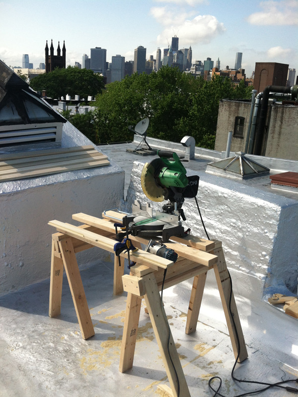 My Ad-hoc Rooftop Wood Shop Aka, a miter saw with a view.