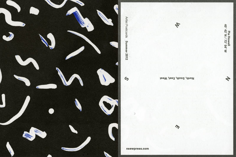 Front / back of postcard for NSEW Press, 2012, edition of 300